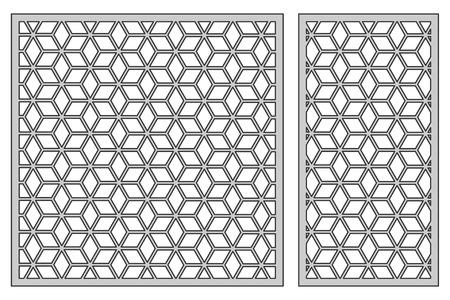 Set template for cutting. Square mesh pattern. Laser cut. Vettoriali