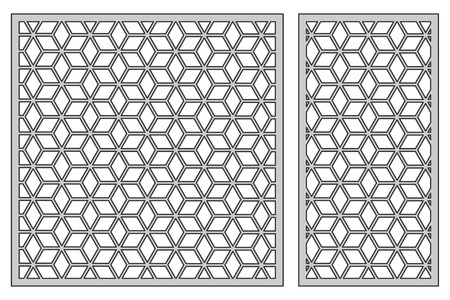 Set template for cutting. Square mesh pattern. Laser cut. Stock Illustratie