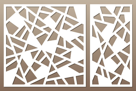 Set decorative card for cutting. Abstract lines pattern. Laser cut. Ratio 1:1, 1:2. Vector illustration. Vectores