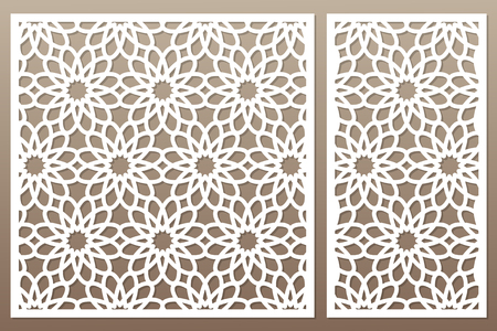 Template for cutting. Geometric flower pattern. Laser cut vector illustration.