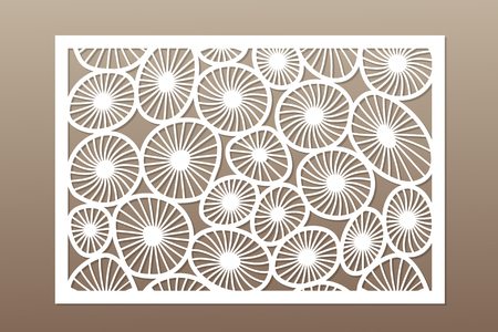 Template for cutting. Round art pattern. Laser cut. Set ratio 2:3. Vector illustration. 向量圖像