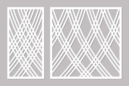 Template for cutting. Lines art pattern. Laser cut. Set ratio 1:2, 1:1. Vector illustration.