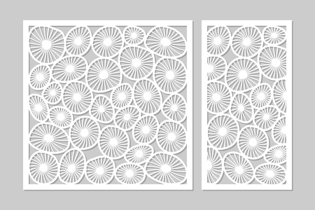 Template for cutting. Round art pattern. Laser cut. Set ratio 1:2, 1:1. Vector illustration.