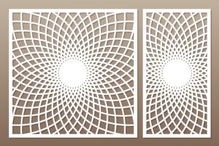 Template for cutting. Mandala, Arabesque pattern. Laser cut. Set ratio 1:1, 1:2. Vector illustration.