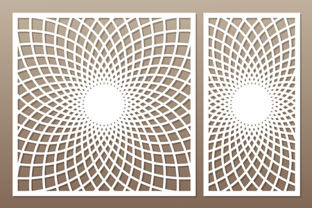 Template for cutting. Mandala, Arabesque pattern. Laser cut. Set ratio 1:1, 1:2. Vector illustration.