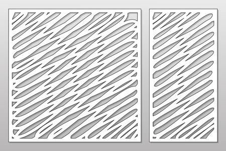 Sjabloon voor snijden. Abstracte lijnen kunst patroon. Lasersnijden. Set ratio 1: 1, 1: 2. Vector illustratie
