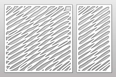 Template for cutting. Abstract lines art pattern. Laser cut. Set ratio 1:1, 1:2. Vector illustration.