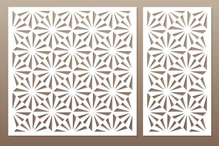 Sjabloon voor snijden. Vierkant, optisch patroon. Lasersnijden. Set ratio 1: 1, 1: 2. Vector illustratie