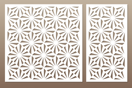 Template for cutting. Square, optical pattern. Laser cut. Set ratio 1:1, 1:2. Vector illustration. Çizim