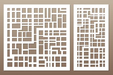 切断のためのテンプレート。抽象的な線、正方形、レンガのパターン。レーザーカット。設定率 1:1,1:2ベクトルイラスト。  イラスト・ベクター素材