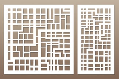 Template for cutting. Abstract lines, square, brick pattern. Laser cut. Set ratio 1:1, 1:2. Vector illustration.