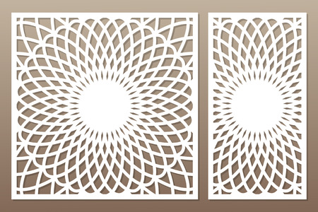 Template for cutting. Flower, geometric pattern. Laser cut. Set ratio 1:1, 1:2. Vector illustration.
