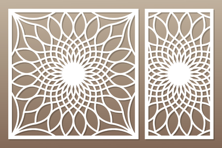Template for cutting. Flower, geometric pattern. Laser cut. Set ratio 1:1, 1:2. Vector illustration.