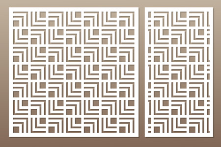 Template for cutting. Geometric line, square pattern. Laser cut. Set ratio 1:1, 1:2. Vector illustration.
