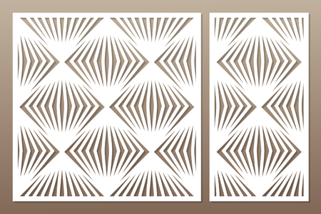 Template for cutting. Square line, geometric pattern. Laser cut. Set ratio 1:1, 1:2. Vector illustration.