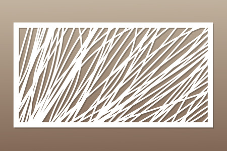 Template for cutting. Abstract line, geometric pattern. Laser cut. Set ratio 1:2. Vector illustration.