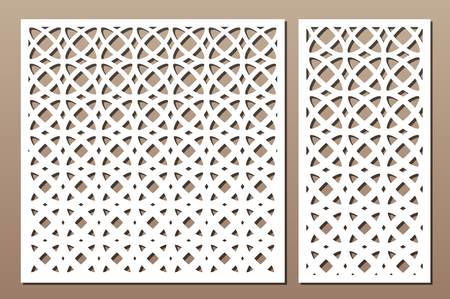 Set decorative card for cutting laser or plotter. Arabic Geometric pattern. Laser cut. Ratio 1:1, 1:2. Vector illustration.