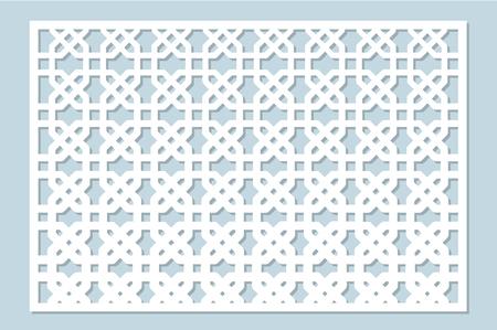 Decorative card for cutting laser or plotter. Arab panel pattern. Laser cut. Ratio 2:3. Vector illustration.