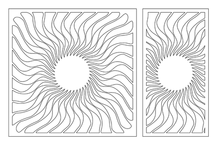 Set decorative card for cutting laser or plotter. Arab mandala pattern. Laser cut. Ratio 1:1, 1:2. Vector illustration. Ilustrace