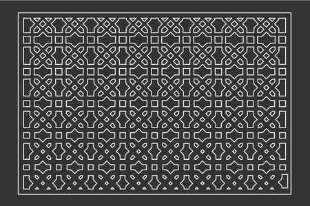 Decorative card for cutting laser or plotter. Arab panel pattern. Laser cut. Ratio 2:3. Vector illustration.