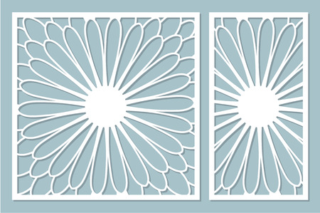 Set decorative card for cutting laser or plotter. Arab mandala pattern. Laser cut. Ratio 1:1, 1:2. Vector illustration. Çizim