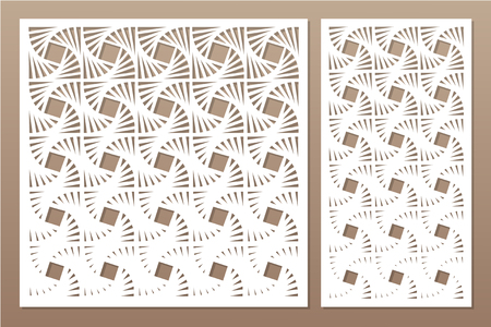 Set decorative card for cutting laser or plotter. Geometric square pattern. Laser cut. Ratio 1:1, 1:2. Vector illustration.