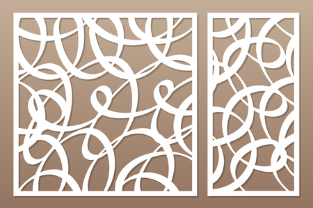 Set decorative card for cutting laser or plotter.  Line abstract pattern. Laser cut. Ratio 1:1, 1:2. Vector illustration.