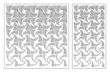 Set decorative card for cutting laser or plotter. Geometric square pattern. Laser cut. Ratio 1:1, 1:2. Vector illustration.