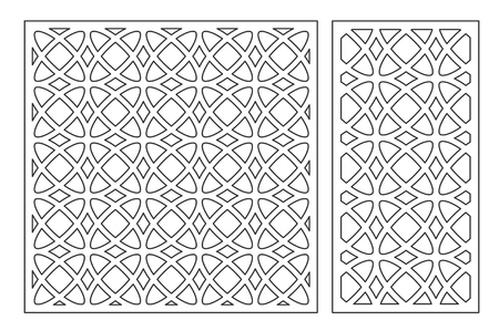Set decorative card for cutting laser or plotter. Arabic Geometric pattern. Laser cut. Ratio 1:1, 1:2. Vector illustration. Stockfoto - 101824156