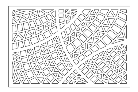 Decorative card for cutting. Geometric ethnic pattern. Laser cut panel. Ratio 2:3. Stock Illustratie