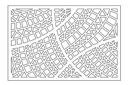 Decorative card for cutting. Geometric ethnic pattern. Laser cut panel. Ratio 2:3. Illustration
