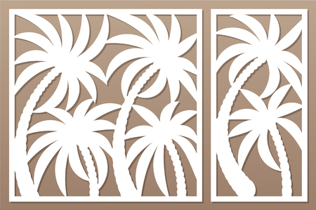 Set decorative card for cutting. Palm leaf pattern. Laser cut panel. Ratio 1:1, 1:2.