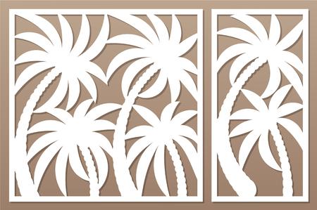 Set decorative card for cutting. Palm leaf pattern. Laser cut panel. Ratio 1:1, 1:2.