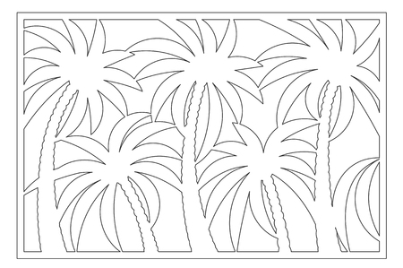 Decorative card for cutting. Palm leaf pattern. Laser cut panel. Ratio 2:3. 일러스트