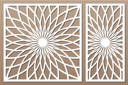 Template for cutting. Flower, geometric pattern. Laser cut. Set ratio 1:1, 1:2.