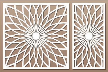 Template for cutting. Flower, geometric pattern. Laser cut. Set ratio 1:1, 1:2. Foto de archivo - 104500509