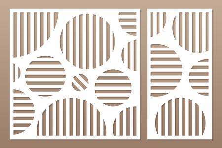 Decorative card set for cutting laser or plotter.  geometric art circle pattern panel. Laser cut.