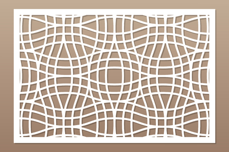 Decorative card for cutting laser or plotter.  Linear geometric pattern panel. Laser cut.