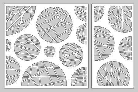 Decorative card set for cutting laser or plotter.  geometric art circle pattern panel. Laser cut.