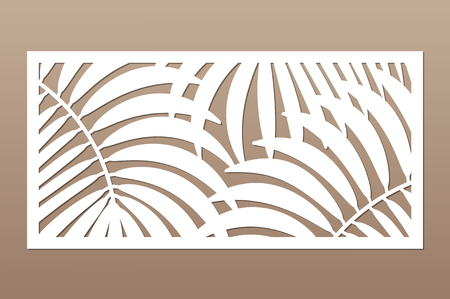 Decorative card for cutting. Leaves foliage palms fern