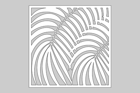 Decorative card for cutting. Leaves foliage palms fern pattern. Laser cut. Ratio 1:1. Vector illustration.