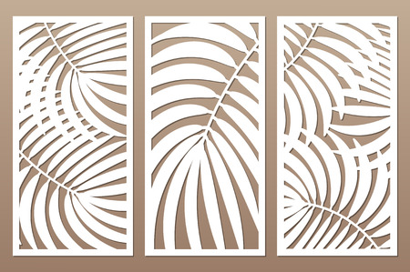 Définir une carte décorative pour la découpe. Feuilles feuillage palmiers motif fougère. Coupe au laser. Rapport 1: 2. Illustration vectorielle.
