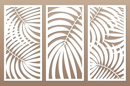 Establecer tarjeta decorativa para cortar. Hojas de follaje palmas patrón de helecho. Corte con laser. Relación 1: 2. Ilustración vectorial.
