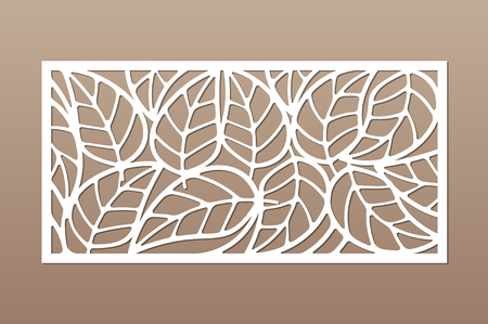 Decorative card for cutting. Leaves foliage pattern. Laser cut. Ratio 1:2. Vector illustration.