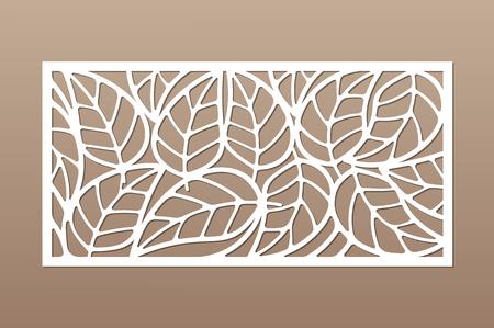 Carte décorative à découper. Feuilles motif de feuillage. Coupe au laser. Rapport 1: 2. Illustration vectorielle.