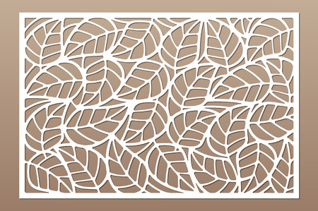 Decorative card for cutting. Leaves foliage pattern. Laser cut. Ratio 2:3. Vector illustration.