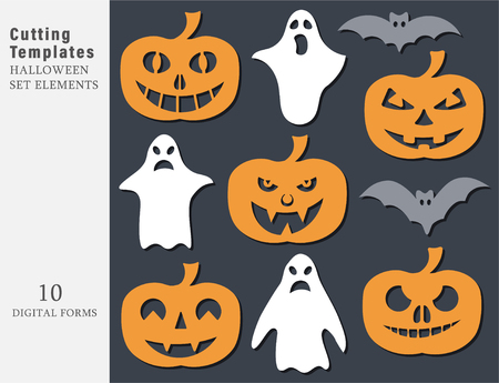Garland Halloween. The laser cutting. Festive decoration for walls and Windows. Vector illustration.