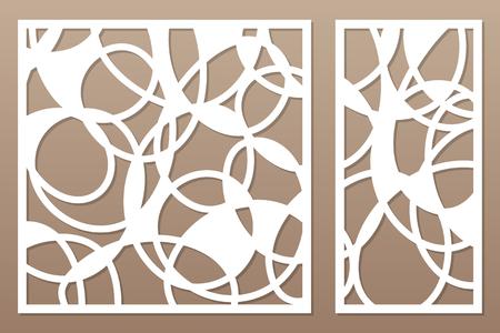 Establecer plantilla para cortar. Línea abstracta, patrón geométrico. Corte con laser. Establecer proporción 1: 2, 1: 1. Ilustración vectorial.