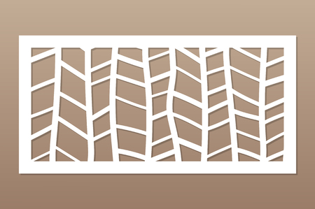 Template for cutting. Abstract line, geometric pattern. Laser cut. Set ratio 1:2. Vector illustration. Vetores