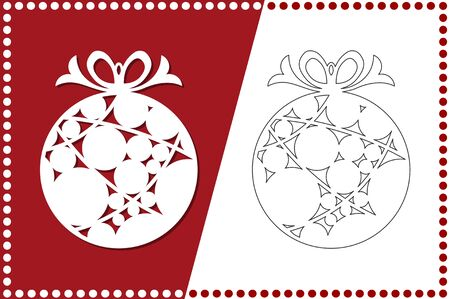 Modern Christmas ball. New Years Toy for laser cutting. Vector illustration. 일러스트